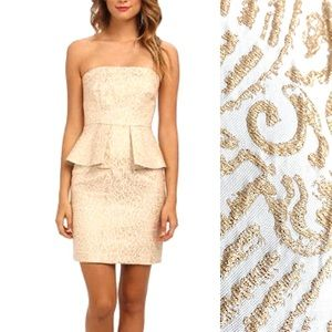 NWT LAUNDRY Gold Brocade Cocktail Peplum Dress 8
